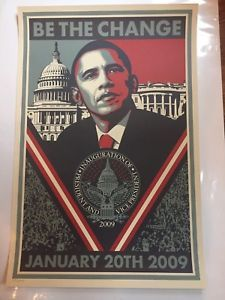 BE THE CHANGE PRINT POSTER SHEPARD FAIREY BARRACK OBAMA | eBay