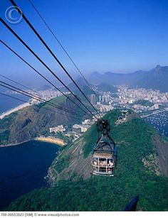 Cable car headed up to Sugar Loaf in Rio de Janeiro. Fantastic view of the whole region. Unforgettable.