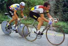 Hinault and Moser, 1984 Velo Vintage, Vintage Cycles, Vintage Sport, Vintage Bikes, Old Bicycle, Bicycle Race, Cycling T Shirts, Cycling Art, Montague Bike