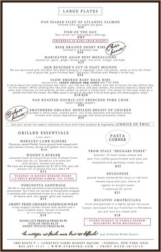 Farm To Table Bistro   Dinner Menu   Back Side