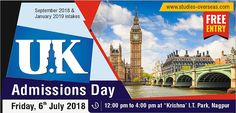 All High Ranked UK Universities under one roof Date: 6th July, 2018 Time: 12:00 PM - 4:00 PM Venue: Krishna Consultants, IT Park, #Nagpur  Participating Universities:  Middlesex University Leeds Beckett University, Leeds Coventry University, London Anglia Ruskin University,  Cambridge and Chelmsford Northumbria University, Newcastle