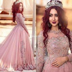 Pink Muslim Wedding Dress Elegant Lace Long Sleeve Beading