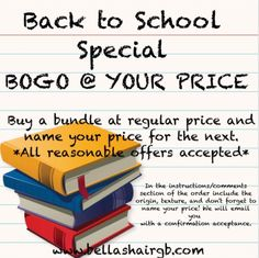 Back to school sale going on NOW! Purchase one bundle at full price, and name your price for the second.