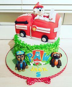 Paw patrol cake handmade fondant dogs fire engine Chelsie Cook's Cakes