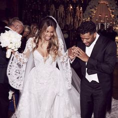 Ciara's Bridesmaids Wore These Custom Gowns for Her Wedding to Russell Wilson from InStyle.com