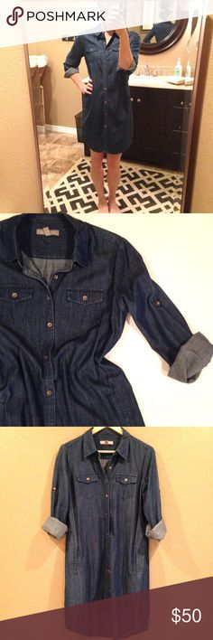 Banana Republic denim dress NWOT Long sleeve chambray button down shirt dress by Banana Republic. Bronze metallic buttons with roll tab sleeves and side pockets. Flattering boyfriend fit. New without tags (the pockets are still sewn shut). In perfect condition. Banana Republic Dresses Long Sleeve