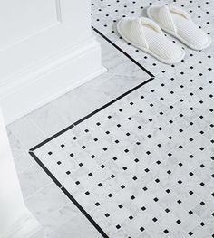 Basketweave in all bathroom floors please.  I also like the way there is an outline pattern as well.  And I would like the look to be very crisp and clean cool white like this one