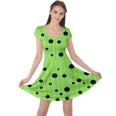 Bubbles at Strings Lemon Green and black, geometrical pattern Cap Sleeve Dress Fit And Flare, Creative Design, Cap Sleeves, Bubbles, Lemon, Summer Dresses, Womens Fashion, Green, Girls