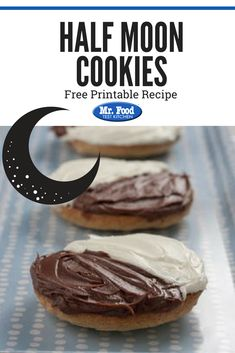 These half moon cookies are crazy easy to make and ideal for any party. Made with cake mix and two types of frosting, these cookies made a lovely last-minute edition to any meal or potluck. Crazy Cookies, Cake Mix Cookies, No Bake Cookies, Chip Cookies, Cupcakes, Holiday Cookie Recipes, Easy Cookie Recipes, Half Moon Cookies Recipe, Black And White Cookie Recipe