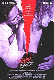 Fatal Attraction, 1987  I could watch this movie over and over. Directed by Adrian Lyne and starring Michael Douglas, Glenn Close and Anne Archer.  Received six Academy Award nominations, including that for Best Picture, Best Actress for Close and Best Supporting Actress for Archer.