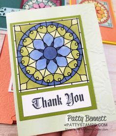 Stampin' Up! Graceful Glass suite: Painted Glass stamp set, Graceful Glass Vellum and Stained Glass thinlits. Card ideas colored with Stampin' Blends alcohol markers by Patty Bennett, www.PattyStamps.com