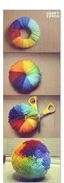 To make a very full pom-pom: Cut 2 donut shapes of cardboard, wrap with different colors of yarn (or make it all one color) cut the yarn on the edge between the 2 pieces of cardboard, wrap a piece of yarn in the groove and tie a knot as tight as you can. Remove the cardboard and fluff. diy