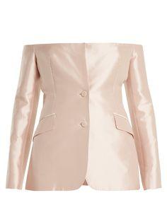 Gabriela Hearst Dorothea off-the-shoulder sateen jacket