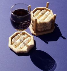 Wine glasses don't need coasters made from corks but this is a great idea for tubblers with ice.