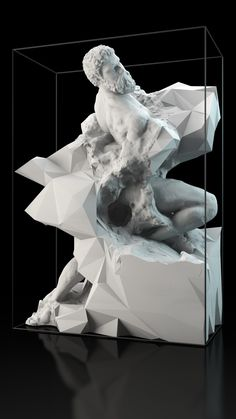 Captives by @Quayola - CG Geological Formations as Life-Size 'Unfinished' Sculptures