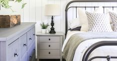 Farmhouse style bedrooms are finding their way back into the mainstream, being loved for their simplicity, kitsch style and simple upkeep. To live and sleep in a farmhouse style bedroom is idyllic and far more realistic than some other bedroom trends. Farmhouse style bedrooms are meant to look lived in, include some clutter and use distressed elements as a key element of their design. Handmade Bedroom Furniture, Farmhouse Style Bedrooms, Dresser As Nightstand, Clutter, Kitsch, Sleep, Key, Trends, Live