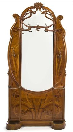 """Love the """"whiplash-form"""" bronze coat hooks! / Art Nouveau fruitwood marquetry-inlaid hall stand / circa 1900"""