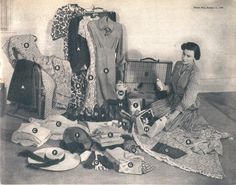 2 Suits: 1 tropical-weight grey worsted, knife-pleat skirt, half-belted jacket; 1 fine black woolen tailor-made (wear skirt w/ pullover for evening dress) 6 Dresses:print dinner, heavy crepe, 4 cotton. Undies:petticoats, camiknickers, panties, 2 bras, girdle, 6 nylons. 4 shoes: bronze ankle straps, black suede ankle straps, black courts, tan walking. 2 twin sets, cardi/pullover. 1 black evening sweater. 4 hats. 4 gloves, woolen stole, 3 headscarves, gold choker.