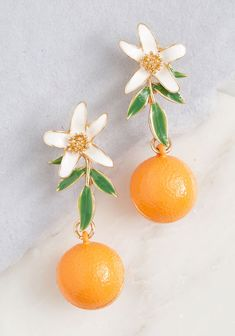 Flaunting Fruit Dangly Earrings Orange