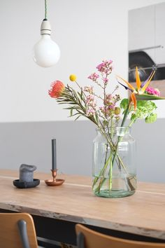 Flowers, dining table, grey, living room, dining, candle, glass vase