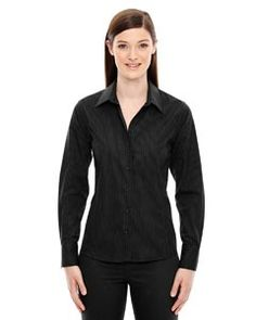Ash City - North End Sport Blue Ladies' Boardwalk Wrinkle-Free Two-Ply 80's Cotton Striped Tape Shirt 78674