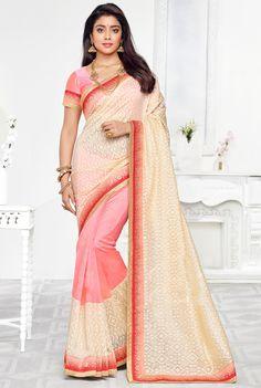 Pink #Banarasi #Silk-Fashion #Saree with Blouse wear By Shriya Saran
