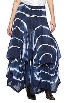 28e8ef73d Womens Victorian Boho Gypsy Gathered Pick Up Full Bustle Petticoat Long  Skirt Medium Blue TieDye -