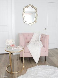 Touches of pink and gold, creating a modern and feminine look.