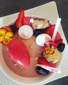 Strawberry cream blueberry pound cake raspberry foam farmers market berries meringue vanilla streusel strawberry raspberry sorbet. #viognierrestaurant #plateddessert #theartofplating @theartofplating #truecooks #chefsofinstagram #chefstalk @chefstalk #cheflife #pastrychef #pastry #pastryart #dessert #dessertporn #foodart #foodporn #finedining #dtsm #food52 @food52 #foodandwine @foodandwine #gastroart @gastroart @gastronogram #gastronogram #strawberry #summer by adini749