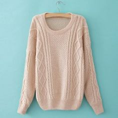 $12.52 Retro Style Cable Knit Long Sleeve Solid Color Sweater For Women.