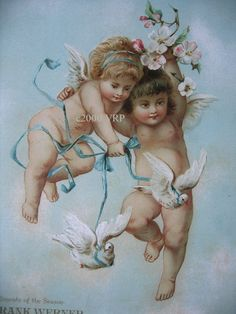 PRINT FREE SHIP Cupid Babies and White by VictorianRosePrints, $11.99