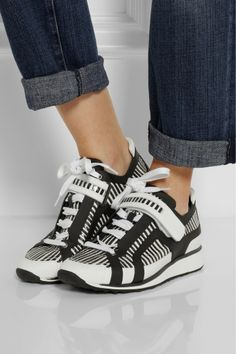PIERRE HARDY Striped elaphe and leather sneakers