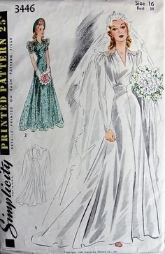 Clothing patterns on pinterest vintage patterns 1950s for 1940s wedding dress patterns