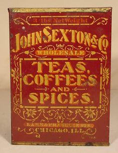 9.5in tall x 7in wide x 4.25in deep Up for live auction today May 02, 2015 John Sexton & Co Teas Coffees and Spices Tin