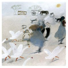 "#illustration by Laura Carlin for Jonh Clare's ""The Shepherd's Calendar"""