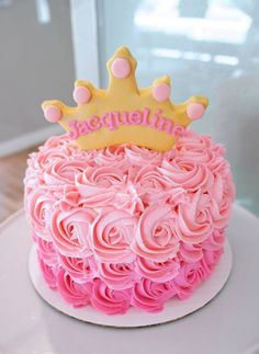 Gorgeous cake for Princess Party - love the sugar cookie crown on top.