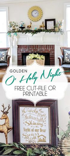 FREE Cut file and printable versions for beautiful golden art featuring the O' Holy Night Hymn. Christmas Mantels, Gold Christmas, Little Christmas, Christmas Signs, Christmas Themes, Thanksgiving Decorations, Halloween Decorations, Christmas Decorations, Holiday Decorating