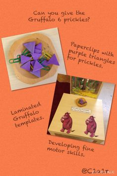 Adding purple prickles to the Gruffalo! Activity can be used to support maths and fine motor skills. Gruffalo Eyfs, Gruffalo Activities, School Age Activities, The Gruffalo, Book Activities, Preschool Activities, Maths Eyfs, Gruffalo's Child, Early Years Maths