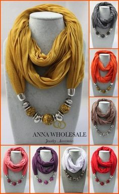 Women Animal Beads Necklace Warmers Wrap Soild Cotton Scarf Jewelry Scarves