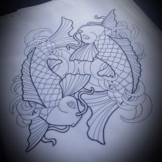 Koi design by Melissa Perlman TattooStage.com - Rate & Review your tattoo artist and his studio. #tattoo #tattoos #ink