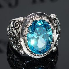 925 Sterling Silver mens ring with Swiss Blue Topaz 14ct. completely handcrated #KaraJewels #ArtisanJewelry