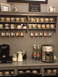 Mug display coffee mug display, coffee mug holder, bar drinks, coffee drink Coffee Mug Storage, Coffee Mug Display, Coffee Nook, Coffee Bar Home, Coffee Corner, Coffee Cup Holder, Mug Holder, Mug Rack, Coffee Bars