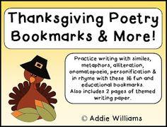 Thanksgiving Poetry Bookmarks as seen on High School Herd  www.highschoolherd.com