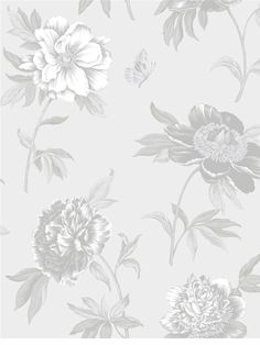 Muted Floral Wallpaper   Shand Kydd - Chelsea   AmericanBlinds.com #grey