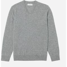 Everlane Men's Cashmere V-Neck Sweater (2,090 MXN) ❤ liked on Polyvore featuring men's fashion, men's clothing, men's sweaters, heather grey, mens vneck sweater, mens v-neck cashmere sweaters, mens cashmere sweaters, mens sweaters and mens lightweight sweaters