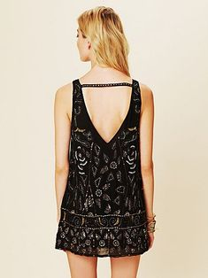 Chiffon shift dress with floral bead and sequin embellishment all over