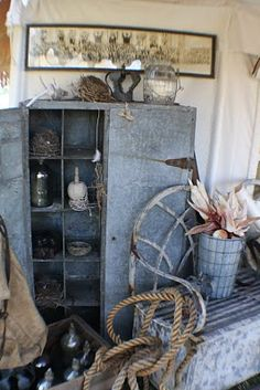 Old galvanized cabinet with cubby holes...yum!