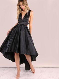 Black Deep V Neck Cut Out High Low Dress -SheIn(Sheinside)