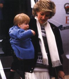 Princess Diana ,William and Harry arrive at Aberdeen Airport