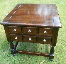 Ethan Allen Antiqued Old Tavern Pine Collection Side Table